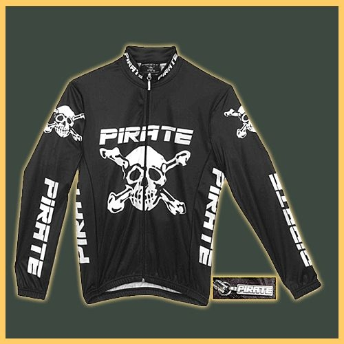 Pirate Long Sleeve Cycling Jersey Warm Up Jacket with reflector